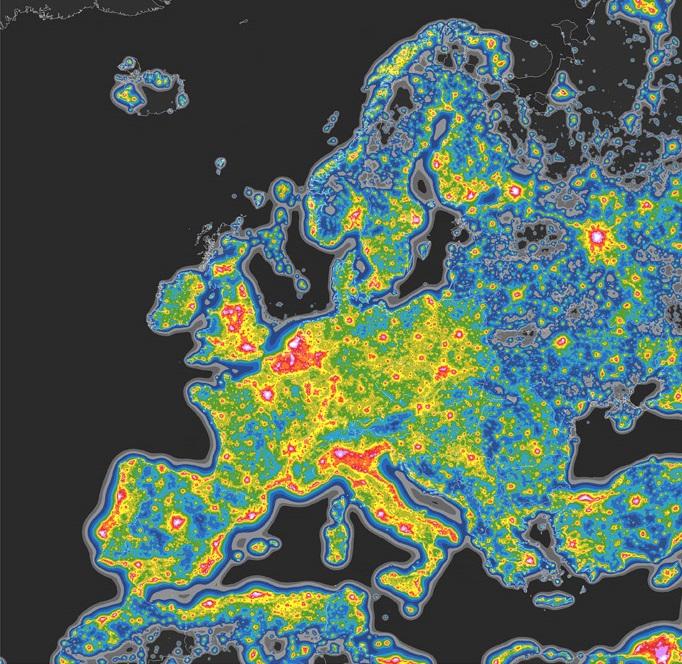 Mapa contaminación lumínica España y resto de Europa
