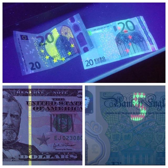 Billets de banque sous lumière UV
