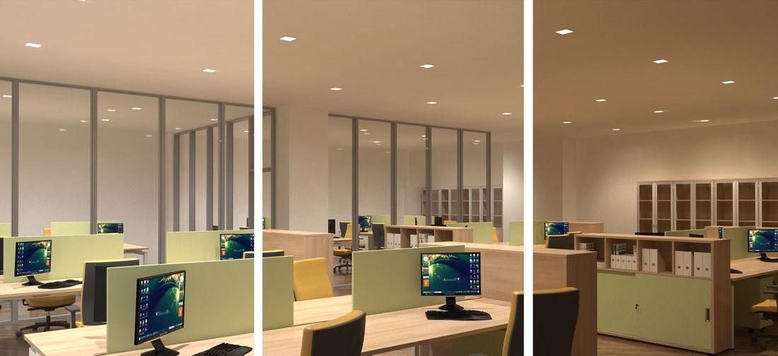 Bombillas LED regulables en una oficina