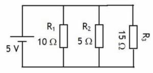 Un circuito con tres resistencias en paralelo