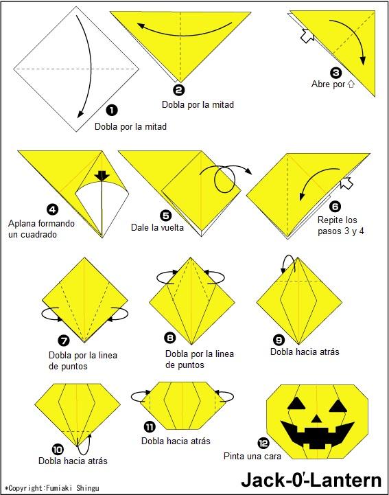 Instrucciones calabaza de origami
