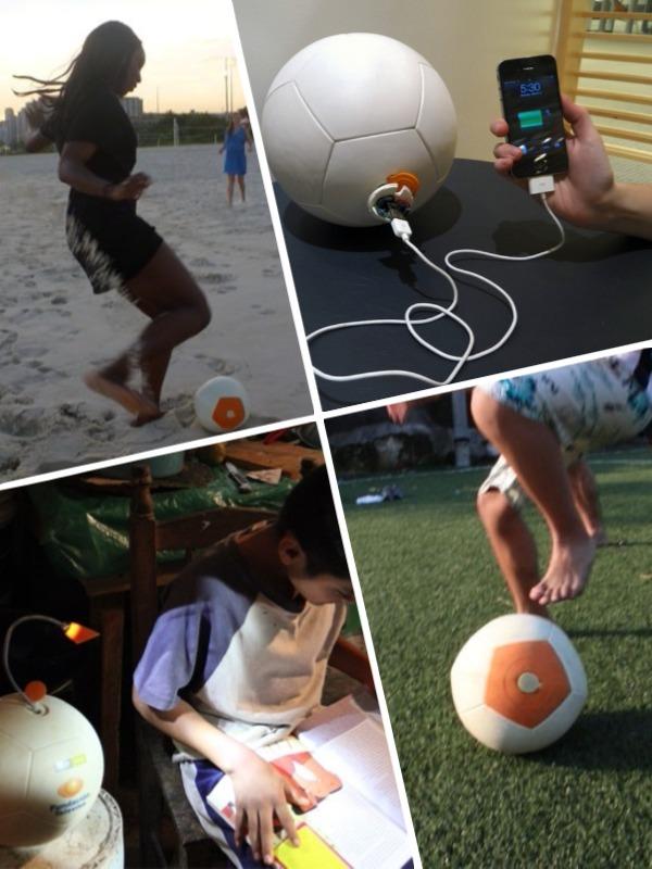 Soccket ball genera luz jugando al fútbol