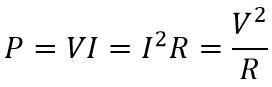 La formula de la potencia en corriente continua