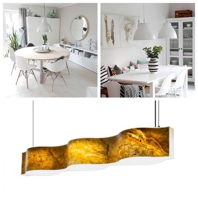 Luminarias adaptadas a la forma de la mesa