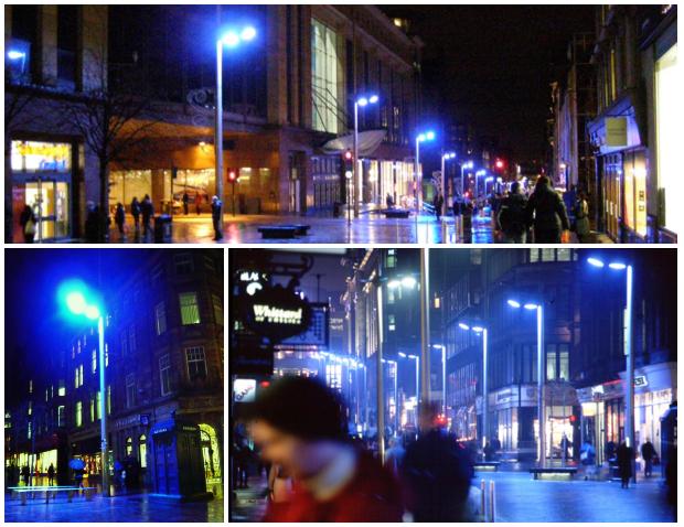 Iluminación azul en Buchanan Street