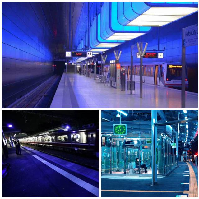 Estaciones de metro con iluminación azul
